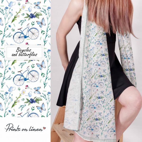 linen scarf with bicycles and butterfly pattern