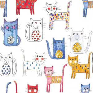Cats pattern WHITE background