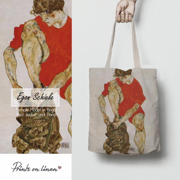 Tote bag / Female Model in Bright Red Jacket