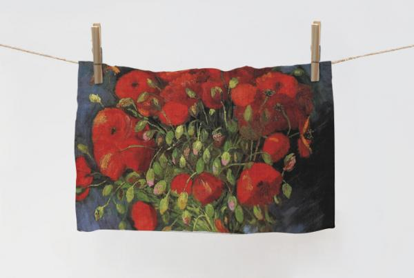 Towel / Vase with Red Poppies