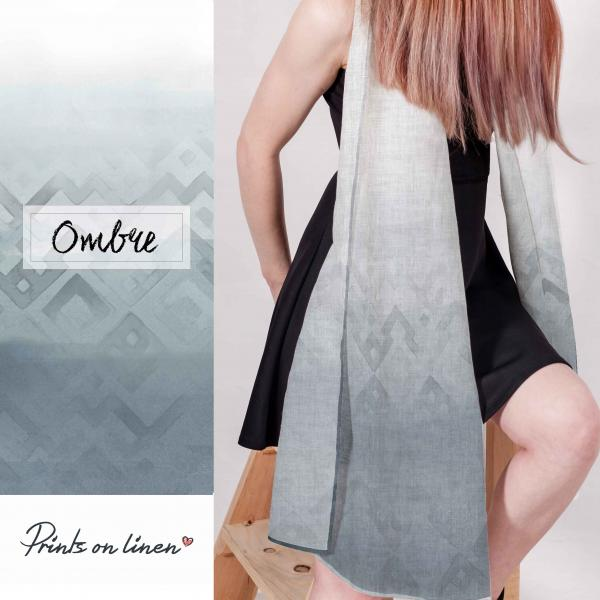linen scarf with ombre patter