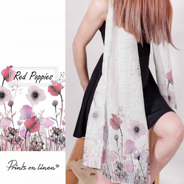 Linen scarf with purple/pink pastel poppies